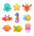 Cute sea animals vector