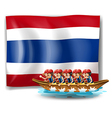 A boat with men near the flag of thailand vector