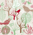Retro abstract birds background vector
