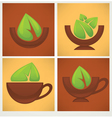 Leaves and bowls vector