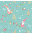 Seamless pattern with santa claus and gifts vector