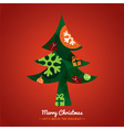 Christmas tree with lettering on red background vector