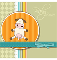 New baby girl announcement card with cow vector