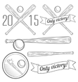Set of logotypes with baseball bat vector