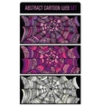 Abstract cartoon spider web background set vector