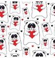 Cats with hearts in hands seamless pattern vector