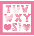 Pink fabric letters t u v w x y z vector