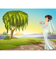 A bride at the road vector