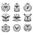 Eagle emblems icon set black vector