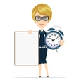 Student with a poster and an alarm clock vector