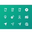 Navigator icons on green background vector