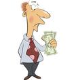 A business man with money cartoon vector