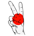 Peace sign of the japanese flag vector