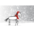 Santa horse sketch for your design symbol of 2014 vector