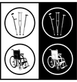 Crutches and invalid chair icons vector