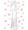 Stylish woman in a long gown among roses vector
