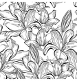 Seamless pattern with white lily flowers vector