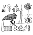 Ecology doodle icons vector