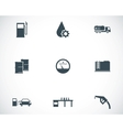 Black gas station icons set vector