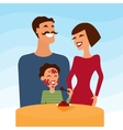Happy family mother father and son eating icecream vector