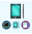 Set icons with laptop phone clipboard vector