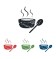 Hot soup grunge icon set vector