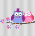 Couple owls in love yle vector