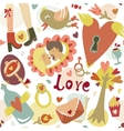 Colorful cartoon romantic love seamless pattern vector