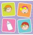 Cute greeting card with small girl vector