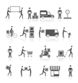 Delivery icons black set vector