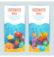 Underwater sea animals vertical banners set vector