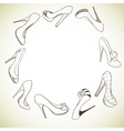 Background with a circle of shoes vector