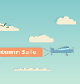 Flying plane with autumn banner vector