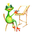 Watercolor painting with a frog who is drowing vector