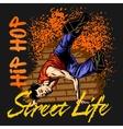 Hip hop dancer on grunge background vector