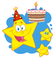 Yellow stars with a birthday cake over blue vector