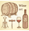 Sketch wine set in vintage style vector