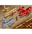 Isometric old vintage biplanes in front view vector
