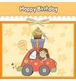Birthday card with funny little girl vector