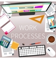 Office desk with keyboard calculator stationery vector