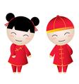 Chinese girl-boy greetings vector