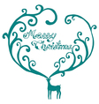 Christmas deer with merry christmas text vector