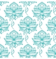 Seamless persian outline blue flowers pattern vector