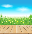 Wooden table on spring meadow vector