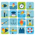 Fishing icons set vector