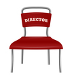 Chrome colored metal chair director vector
