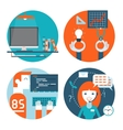Web studio workplace concept and web page vector