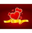 Gold ribbon heart icon vector