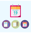 Set icons with clipboard notebook calendar leaf vector