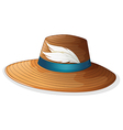 A brown hat with white feathers vector